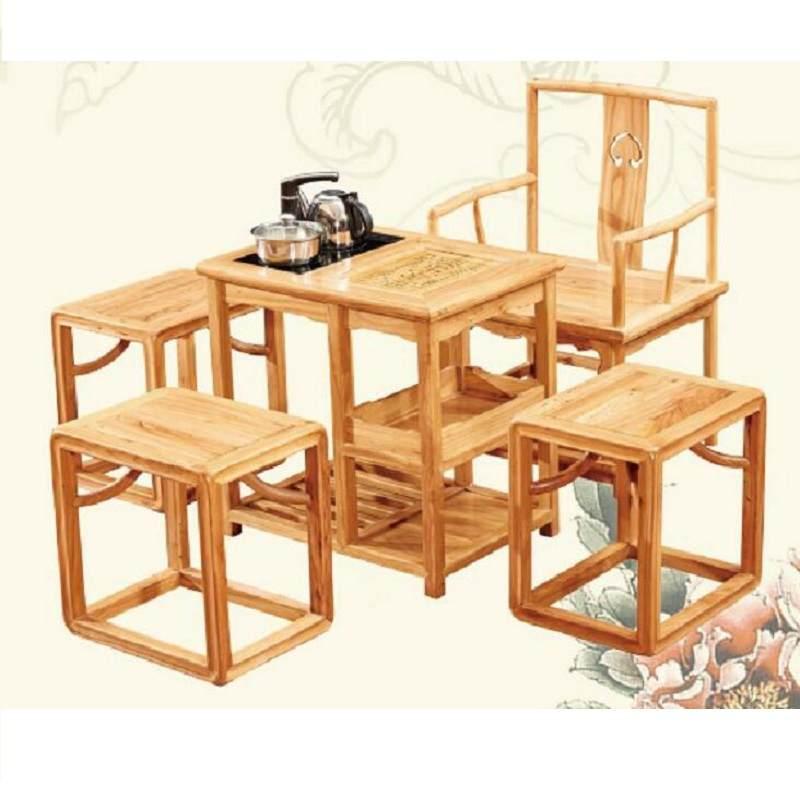 老榆木茶桌椅组合新中式家具茶几实木书法桌仿古画案禅意功夫茶台