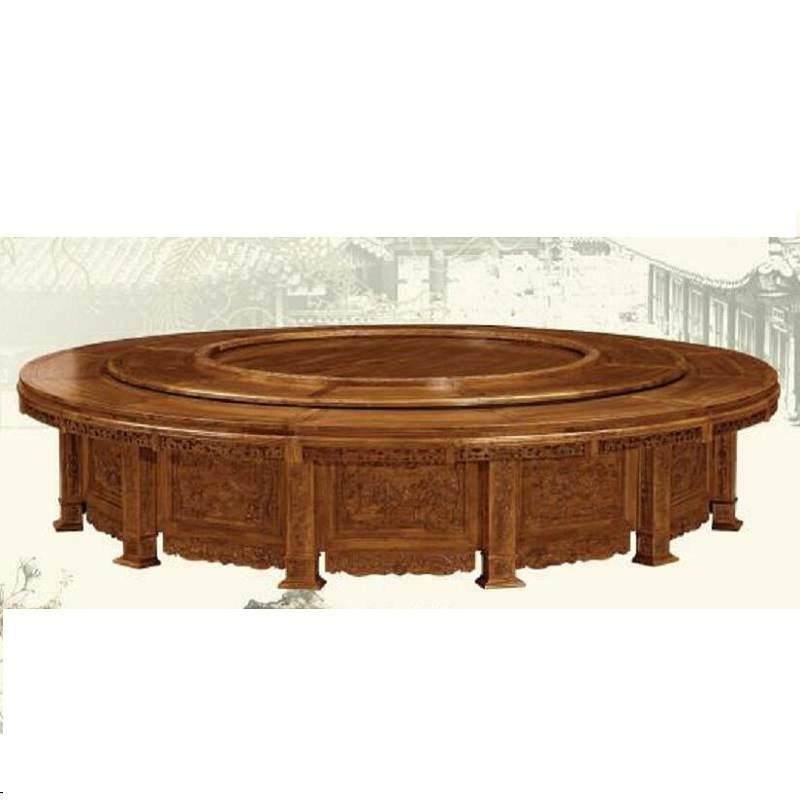 中式实木圆餐桌 仿古雕花电动餐桌 酒店榆木圆形餐桌带转盘定制