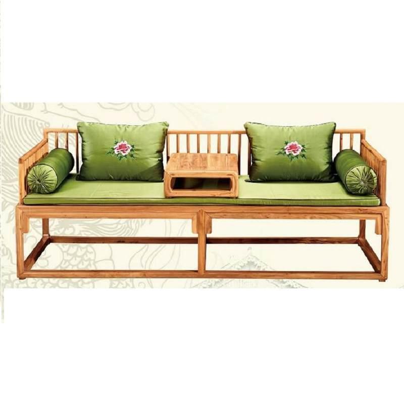 老榆木罗汉床新中式实木定制家具现代简约卧榻禅意客厅沙发床