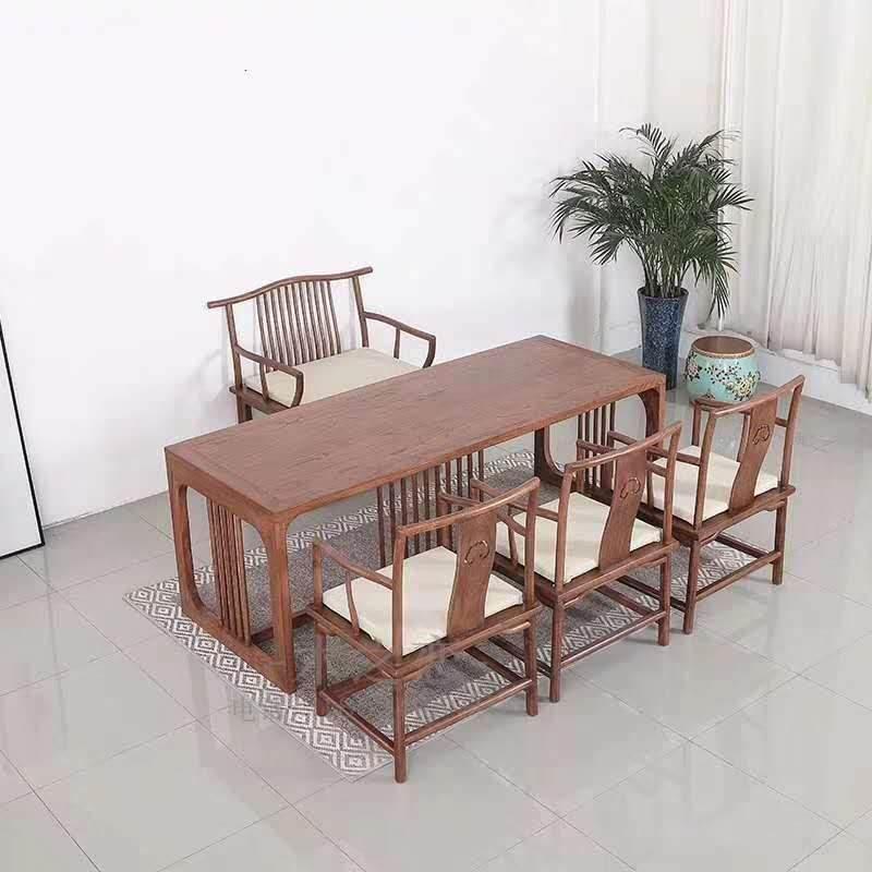 老榆木书桌画案书房新中式禅意抽屉电脑学习办公简约现代实木茶桌椅组合