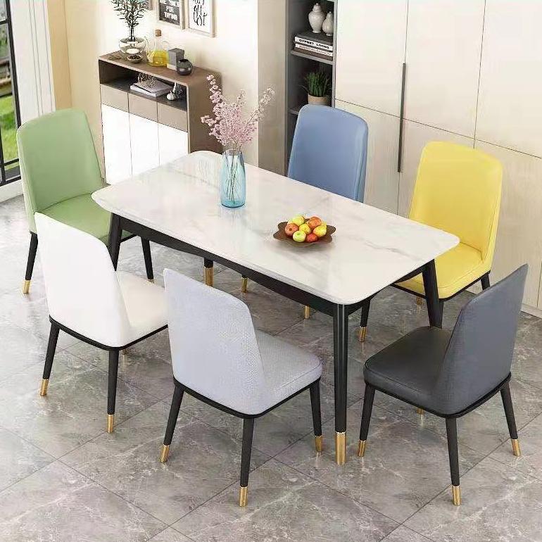北欧餐桌椅组合家用小户型实木餐桌现代简约轻奢仿大理石吃饭桌子
