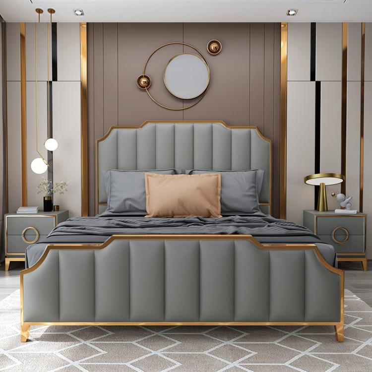 美式轻奢床北欧现代简约皮床真皮ins风网红主卧高档欧式床双人床