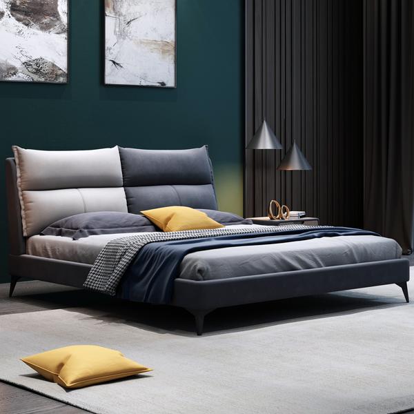 北欧布艺床意式轻奢现代简约科技布1.51.8米主卧软包床可拆洗布床
