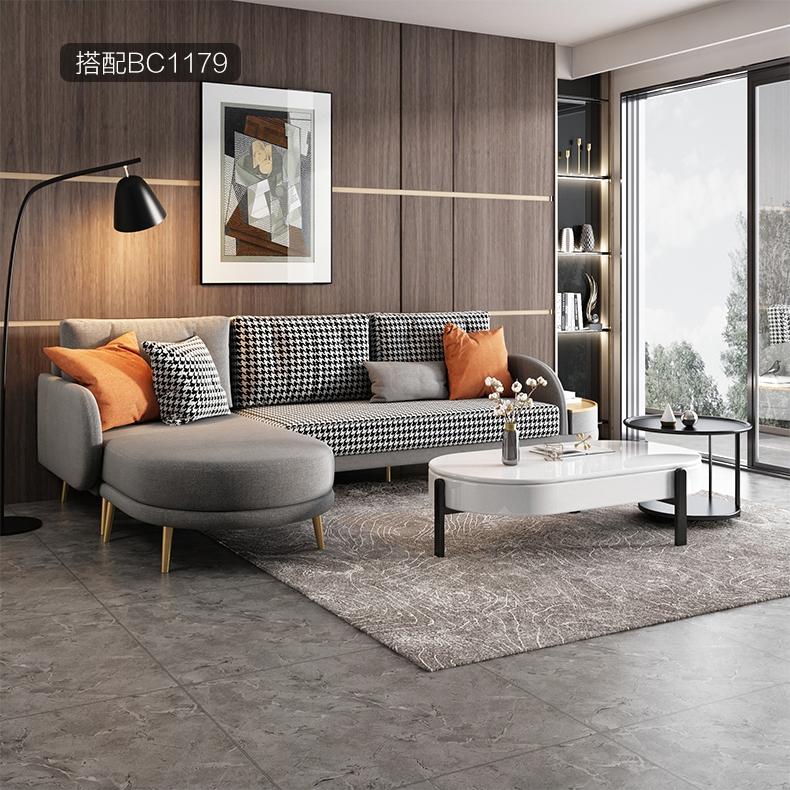 现代简约布艺转角沙发网红轻奢客厅沙发北欧小户型千鸟格贵妃组合