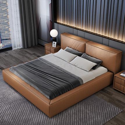 库斯家居现代简约科技布艺床意式极简1.8米双人主卧轻奢网红大床