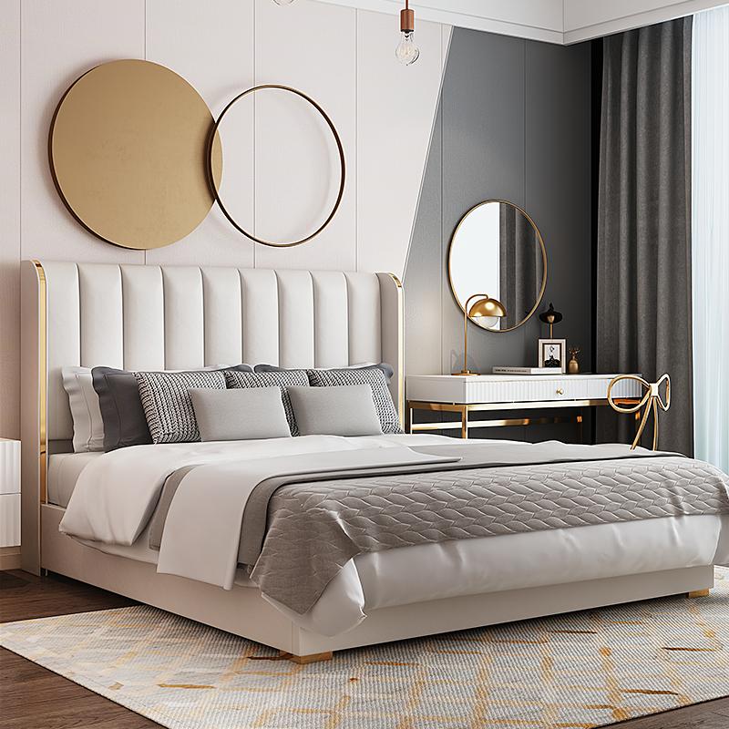 现代简约皮床美式轻奢软包床北欧卧室双人床样板间家具主卧可定制