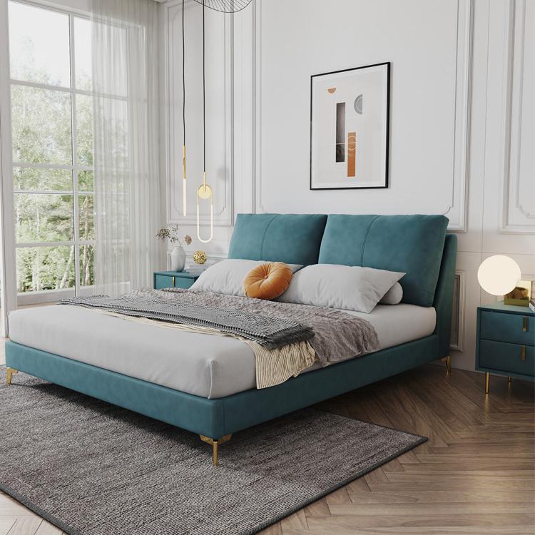 意式轻奢ins风 科技布床小户型软包床网红款双人布艺床简约现代