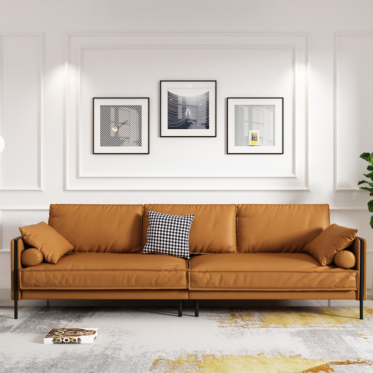 意式极简全真皮沙发头层牛皮客厅橙色三人位北欧简约现代羽绒沙发