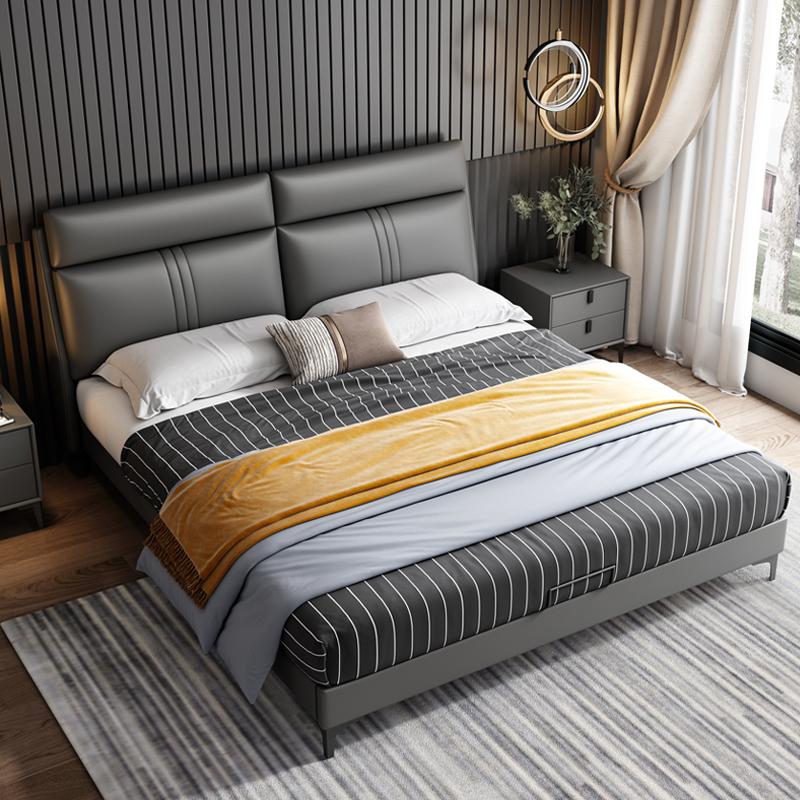 意式极简轻奢床皮床1.8双人床主卧婚床现代简约小户型北欧真皮床