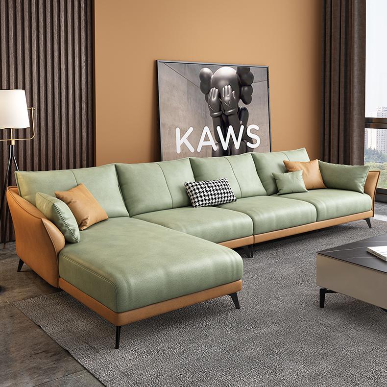 美柏意式极简轻奢免洗科技布艺转角沙发客厅组合整装贵妃乳胶沙发