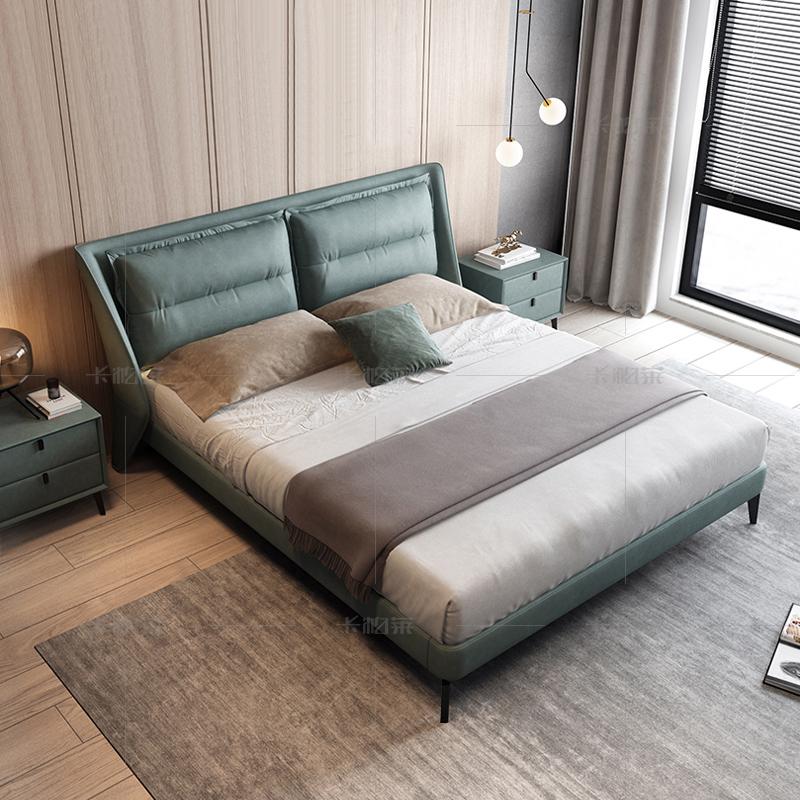 科技布床意式双人简约现代北欧极简1.8米ins网红北欧轻奢免洗软床