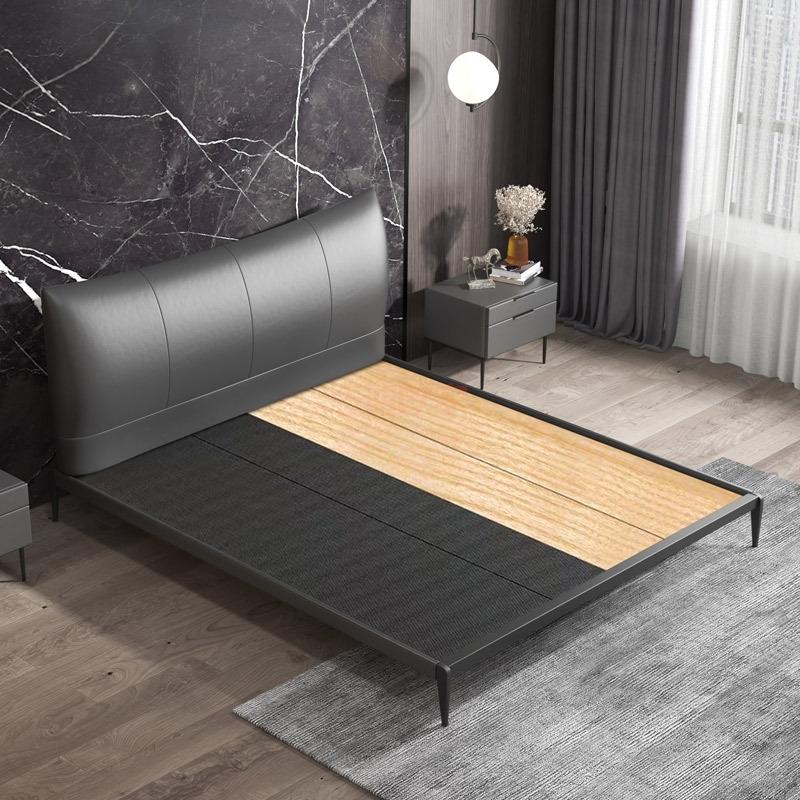 真皮床轻奢现代简约双人床主卧北欧意式极简风床头层牛皮床软包床