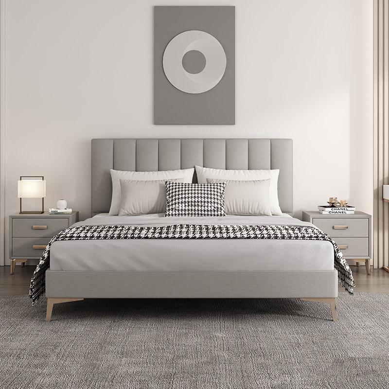 北欧轻奢布艺床双人床免洗科技布床简约现代网红床ins主卧1.8米