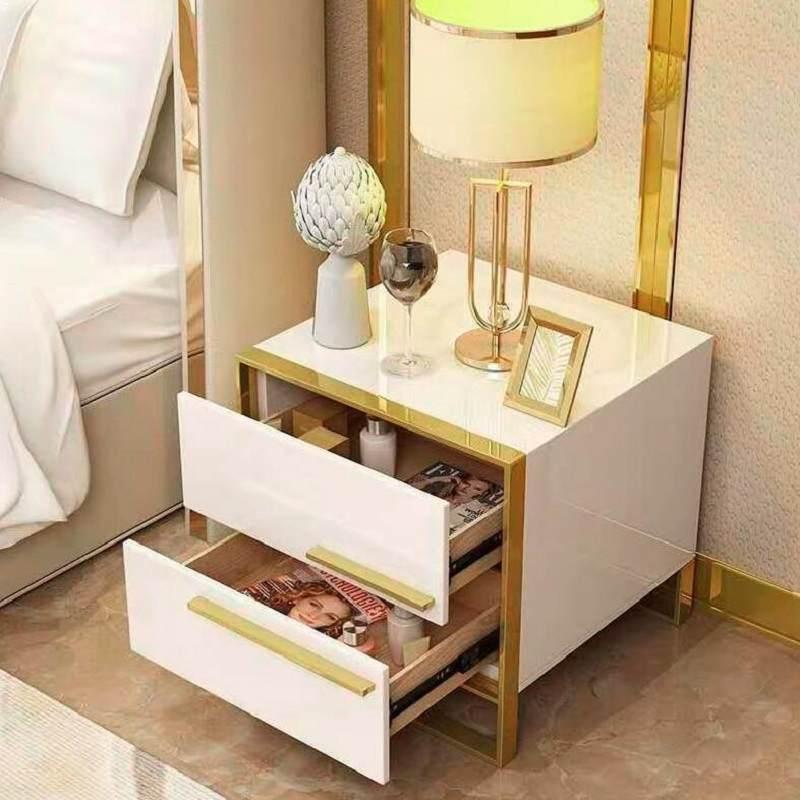 床头柜简约后现代轻奢五金柜卧室储物柜简易小柜子迷你柜北欧ins