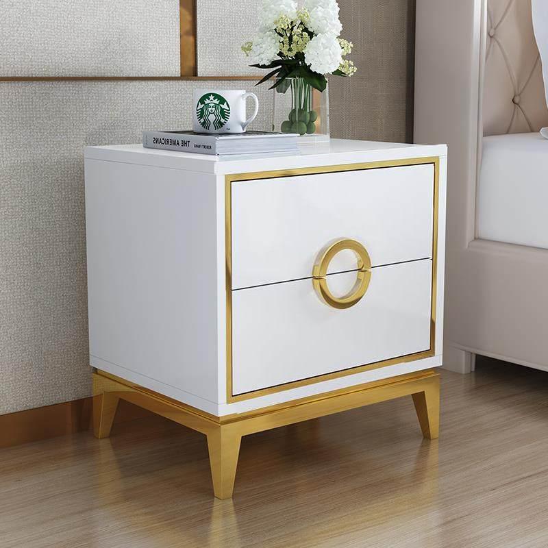 床头柜轻奢风黑白色后现代简约亮光烤漆不锈钢镀金卧室储物收纳柜