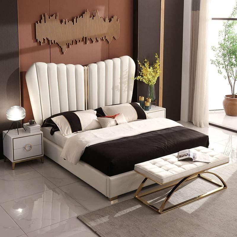北欧现代简约主卧皮床 1.8米头层牛皮真皮床轻奢双人大床网红婚床