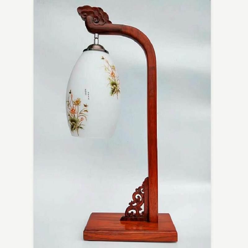 新中式客厅办公室床头柜红木陶瓷创意复古灯具结婚台灯卧室床头灯