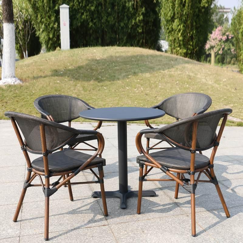 户外桌椅庭院花园院子茶几组合咖啡厅奶茶店星巴克带伞藤椅防水防晒院里阳台防水防晒椅子