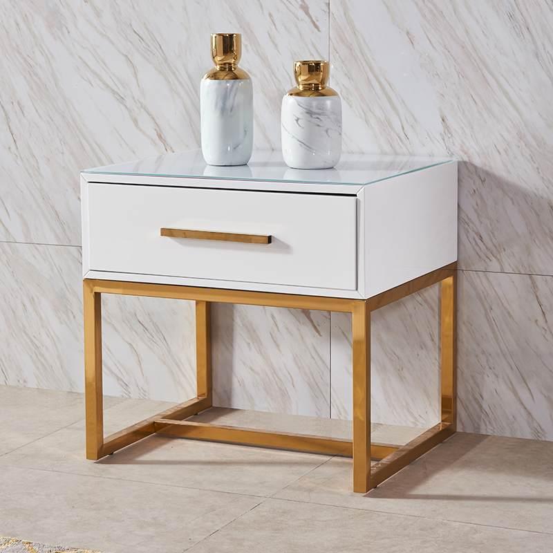 北欧轻奢斗柜卧室配套单双抽屉不锈钢镀金后现代客厅电视斗柜组合