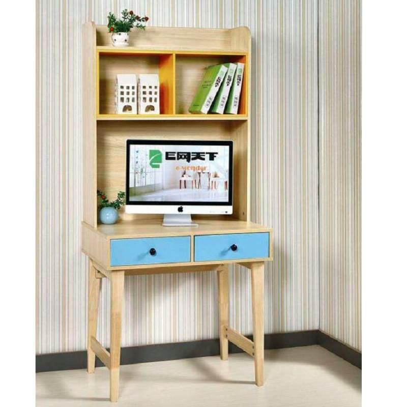 北欧简约现代电脑桌卧室书桌带书架书柜实木环保儿童学习桌写字台