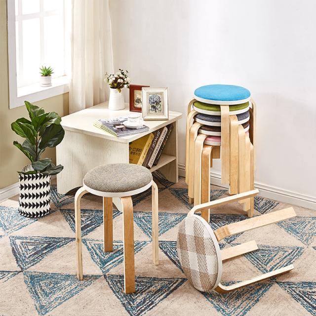 亿鑫曲木凳子成人家用实木现代简约创意木头软面圆凳省空间餐桌凳