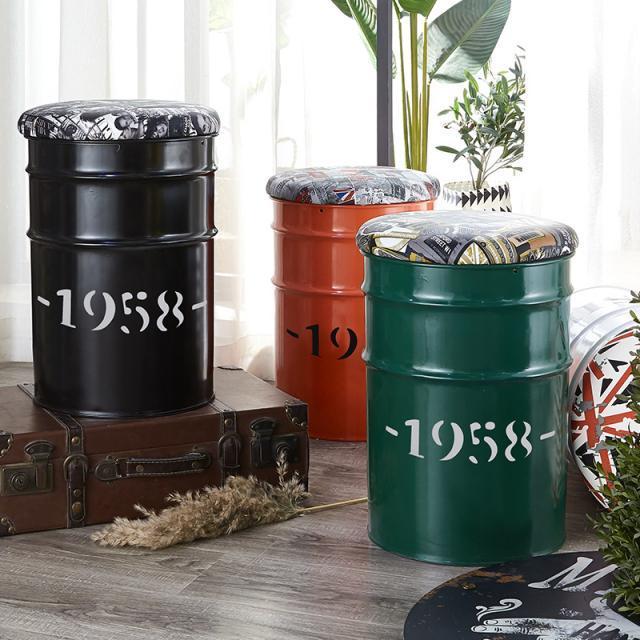油漆桶凳子时尚创意储物圆桶收纳矮凳服装店工业风油桶铁桶换鞋凳