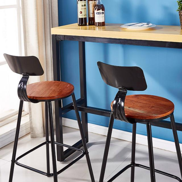 复古铁艺吧台椅子高脚凳子休闲奶茶咖啡店酒吧台靠墙家用吧台桌椅