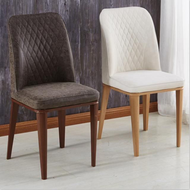 仿实木科技布皮餐椅美式洽谈靠背椅现代简约家用书桌办公软包椅子