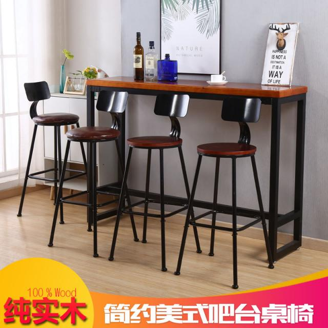 现代简约实木吧台桌铁艺时尚个性创意酒吧小吧台家用靠墙高脚