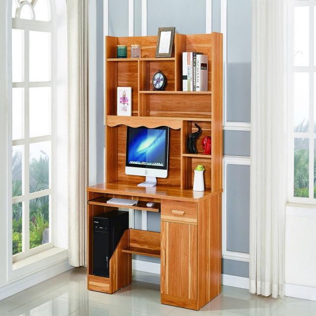 电脑桌台式家用学习桌卧室桌子带书柜书桌一体书架组合学生写字桌