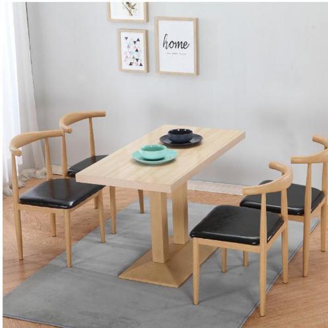 北欧现代简约仿木纹酒店家具餐厅牛角椅咖啡厅椅子简易奶茶店桌椅组合