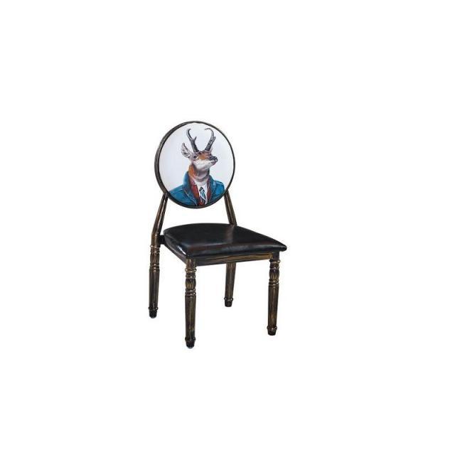 欧式复古做旧个性铁艺餐桌椅 美甲凳子梳妆椅子休闲椅 靠背凳