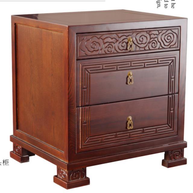 淳木世家中式古典家用床头柜经济型床边柜床边收纳柜子