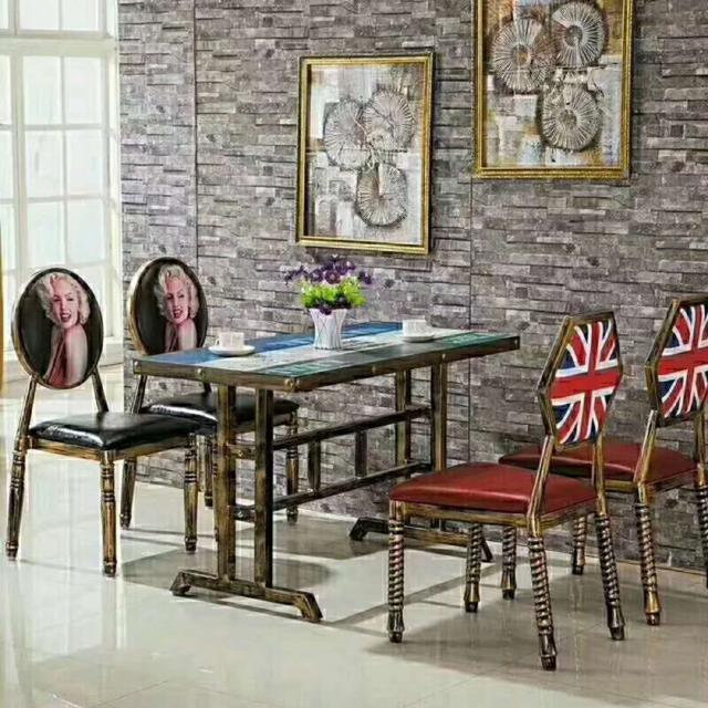 主题餐桌椅组合饭店餐厅火锅面馆酒吧咖啡奶茶沙发铁艺长方形热卖