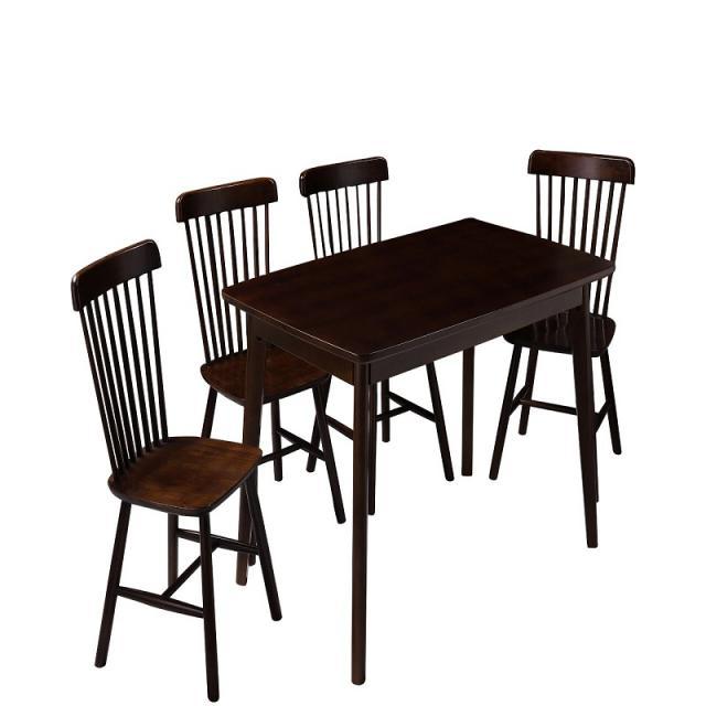 北欧餐桌温莎椅小户型长方形饭桌实木胡桃木色餐桌椅组合现代简约