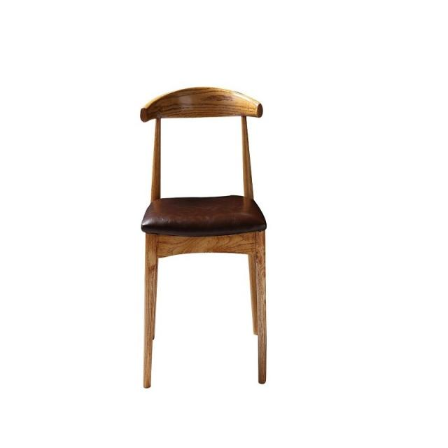 北欧实木牛角椅皮质餐椅时尚简约休闲椅餐厅酒店咖啡厅椅子办公椅