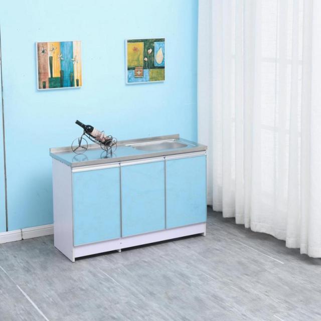 橱柜家用经济型欧式简约小橱柜组装实木放碗柜带水盆租房灶台柜