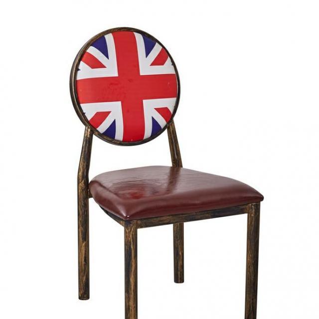 仿实木铁质复古奶茶咖啡厅餐厅酒吧酒店家用桌椅太阳牛角椅定制椅休闲椅